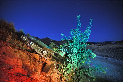 Night Photography of Abandoned Cars